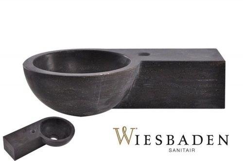 Mała umywalka z kamienia B-STONE okrągła 40x23cm, RĘCZNIE WYKONANY