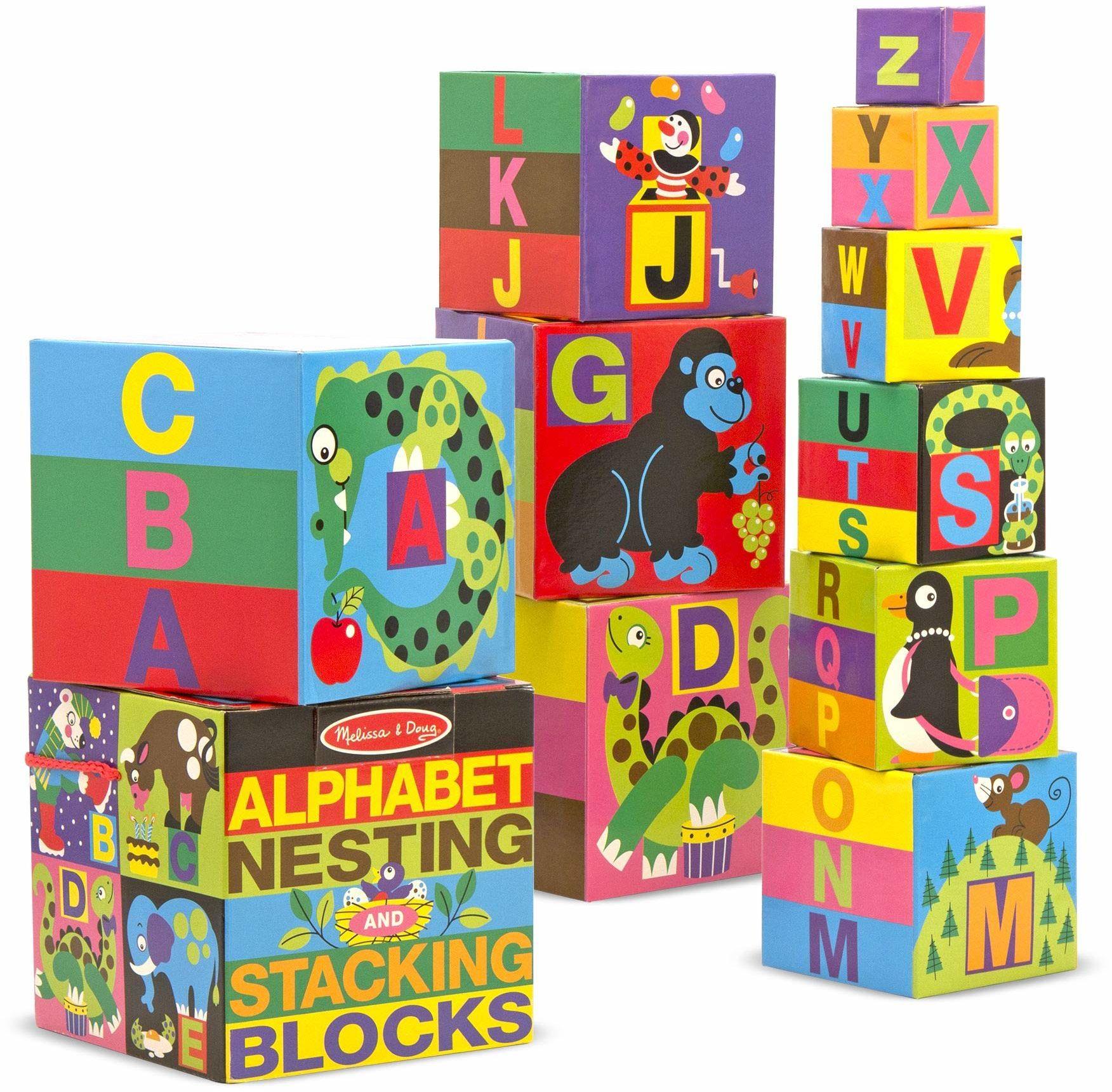 Melissa & Doug Angielski alfabet lęgowski i układania klocki (LC) zabawka rozwojowa klocki i budownictwo 2+ prezent dla chłopca lub dziewczyny
