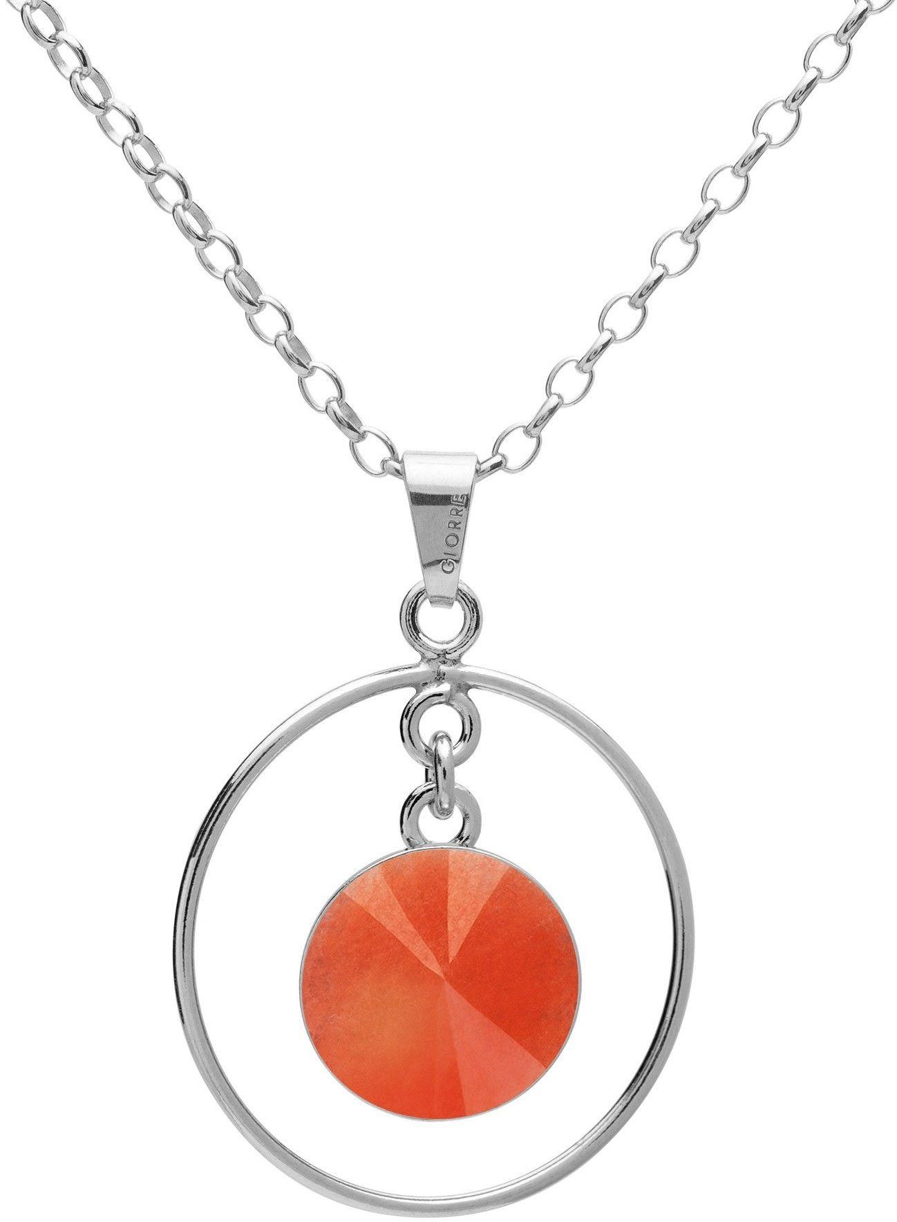 Okrągły naszyjnik z naturalnym kamieniem - jadeit, srebro 925 : Długość (cm) - 45 + 5, Kamienie naturalne - kolor - jadeit pomarańczowy, Srebro - kolor pokrycia - Pokrycie platyną