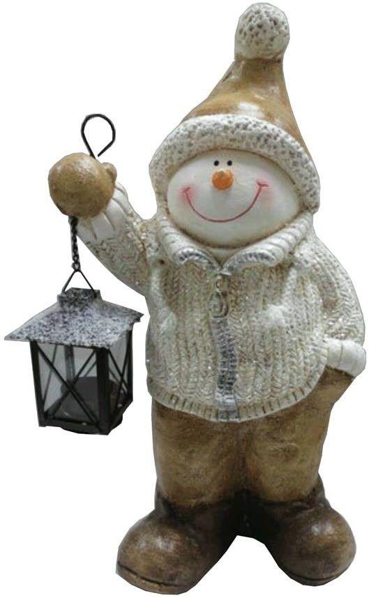 Figurka bałwanek z lampionem 42 cm