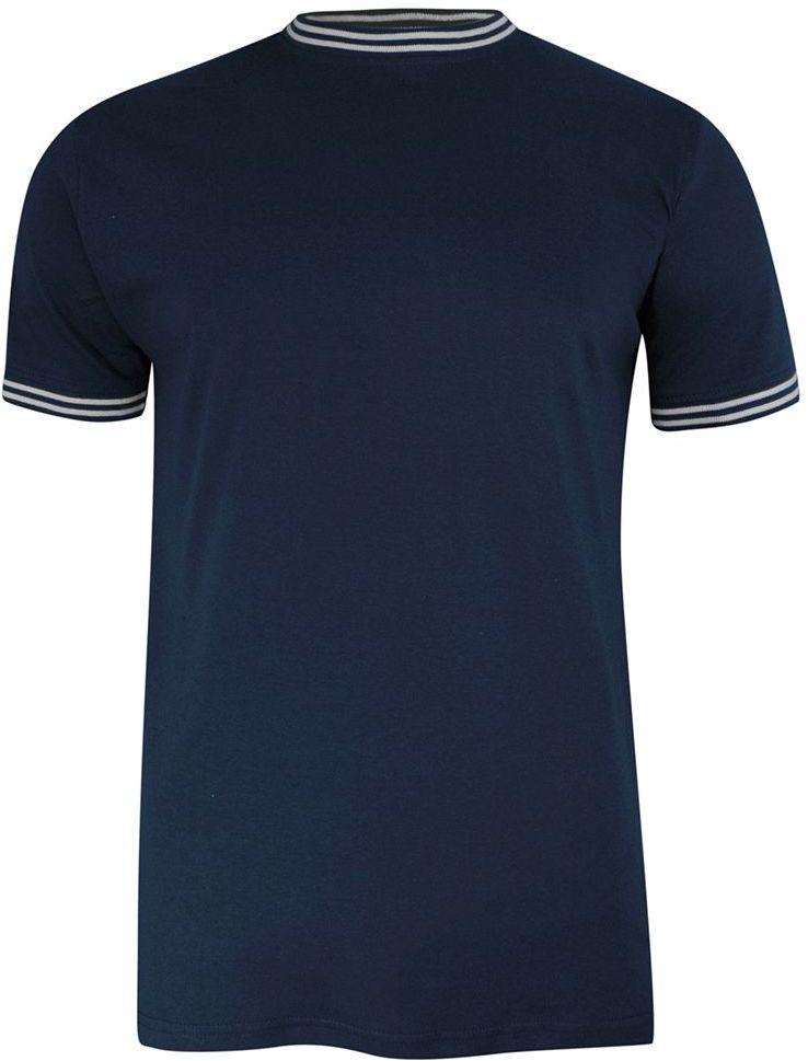 T-shirt Granatowy Bawełniany z Białą Lamówką, Bez Nadruku, Krótki Rękaw -BRAVE SOUL TSBRSSS21GALWAYdknavy
