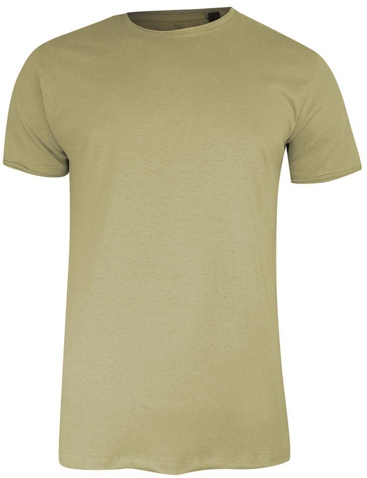 T-Shirt (Koszulka) Beżowy Bez Nadruku, Okrągły Dekolt, Postrzępione Brzegi -BRAVE SOUL- Męski TSBRSSS21FRESHERstone