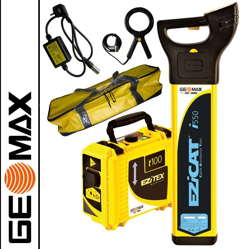 Wykrywacz EZiCAT i550 GeoMax  + Generator EZiTEX t100 GeoMax + Klema + Łacznik + Torba