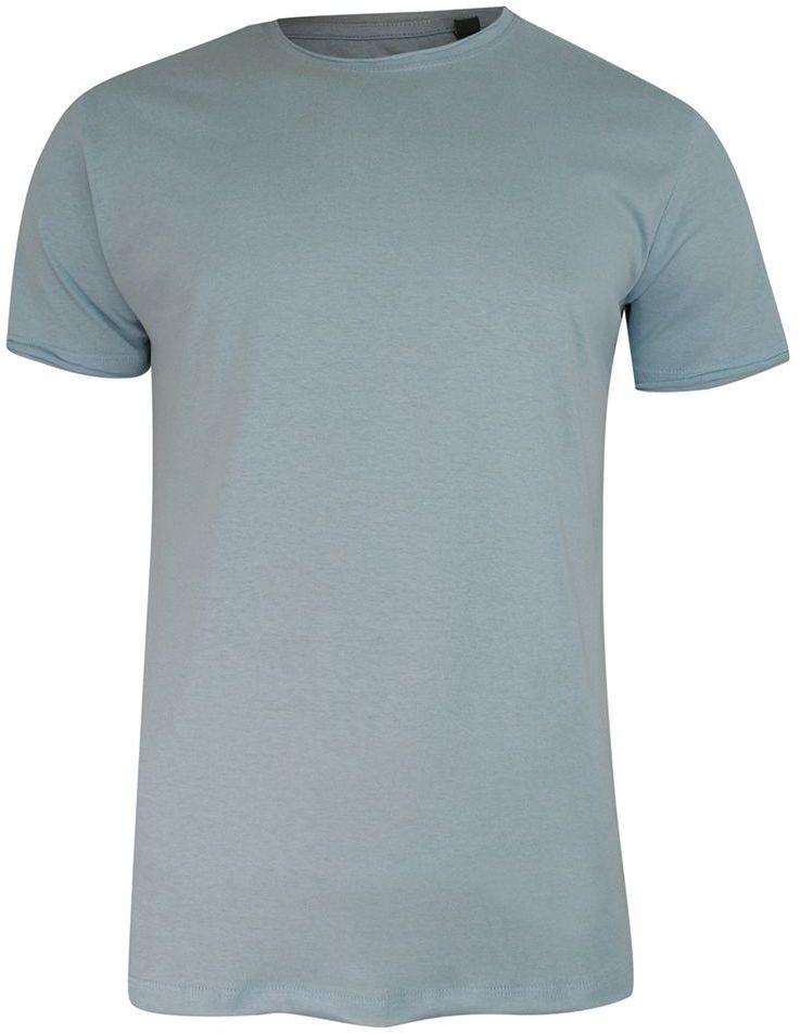 T-Shirt (Koszulka) Niebieski Bez Nadruku, Okrągły Dekolt, Postrzępione Brzegi -BRAVE SOUL- Męski TSBRSSS21FRESHERpaleblue