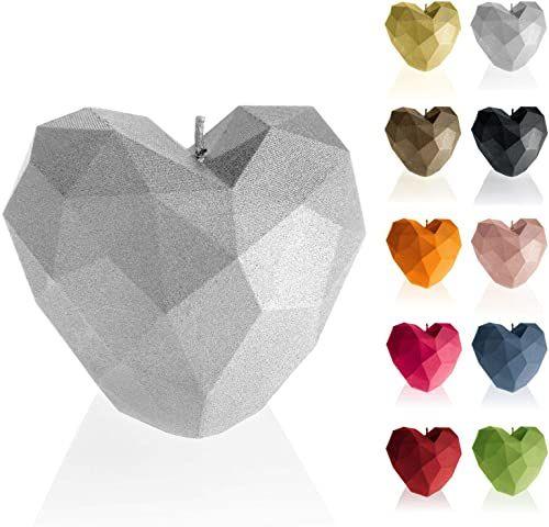 Candellana Świeca serce Low Poly wysokość: 8 cm srebrna wykonana ręcznie w UE