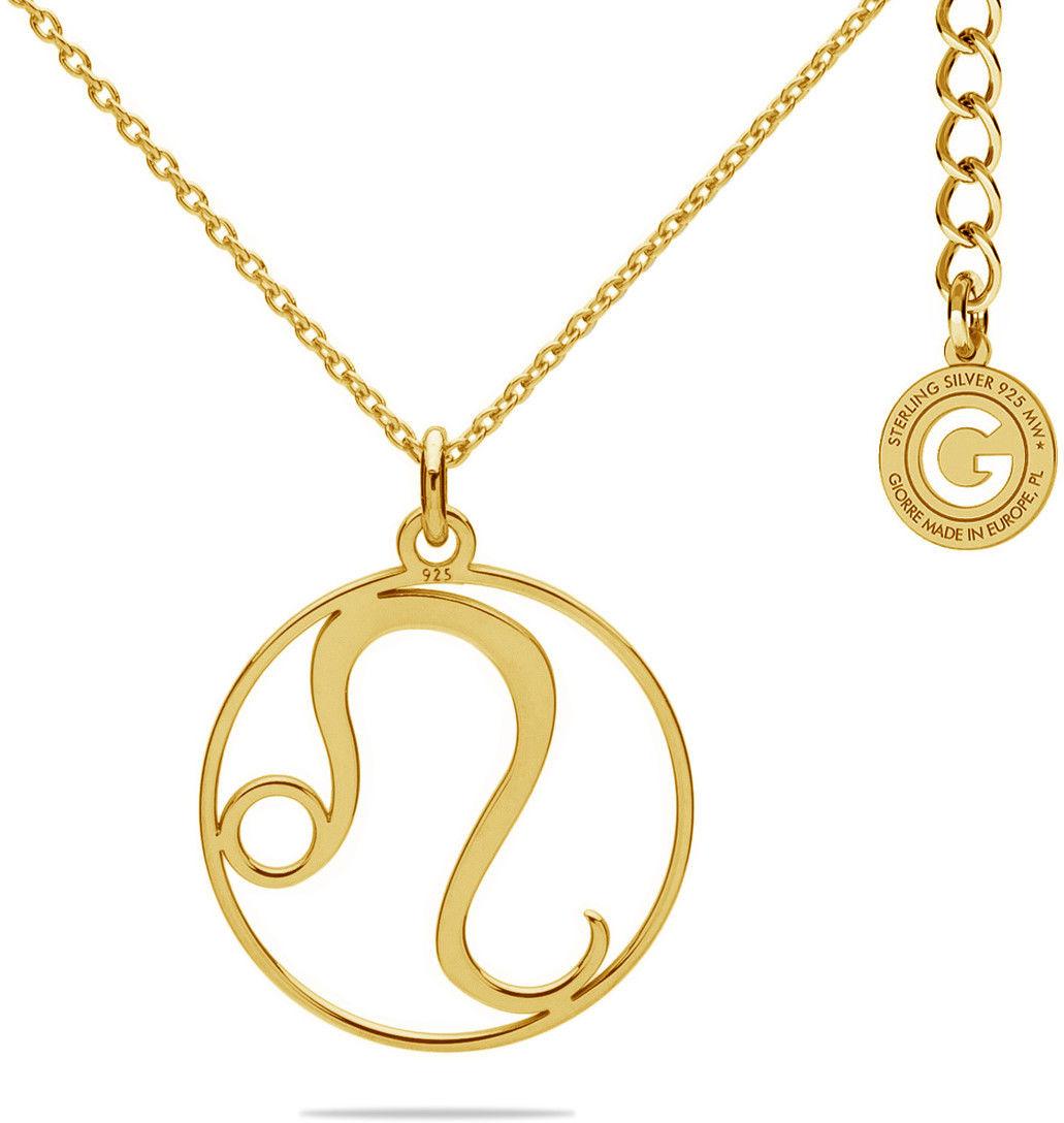 Srebrny naszyjnik znak zodiaku lew, srebro 925 : Srebro - kolor pokrycia - Pokrycie żółtym 18K złotem