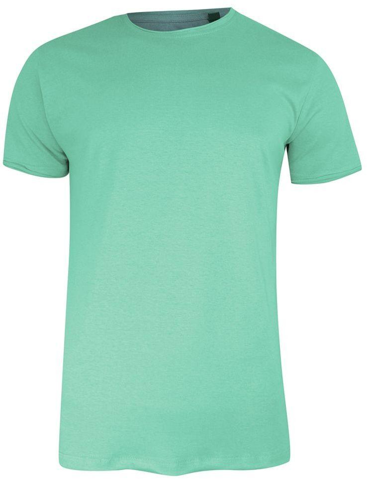 T-Shirt (Koszulka) Miętowy Bez Nadruku, Okrągły Dekolt, Postrzępione Brzegi -BRAVE SOUL- Męski TSBRSSS21FRESHERmintgreen