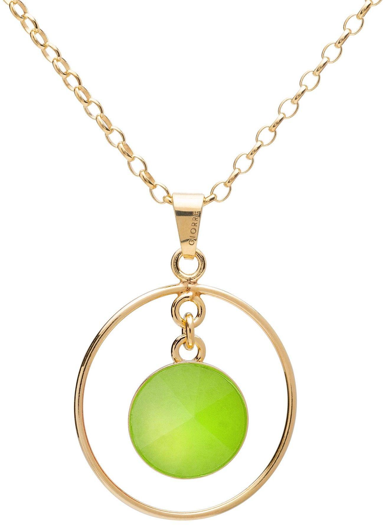 Okrągły naszyjnik z naturalnym kamieniem - chryzopraz, srebro 925 : Długość (cm) - 45 + 5, Kamienie naturalne - kolor - chryzopraz zielony jasny, Srebro - kolor pokrycia - Pokrycie żółtym 18K złotem