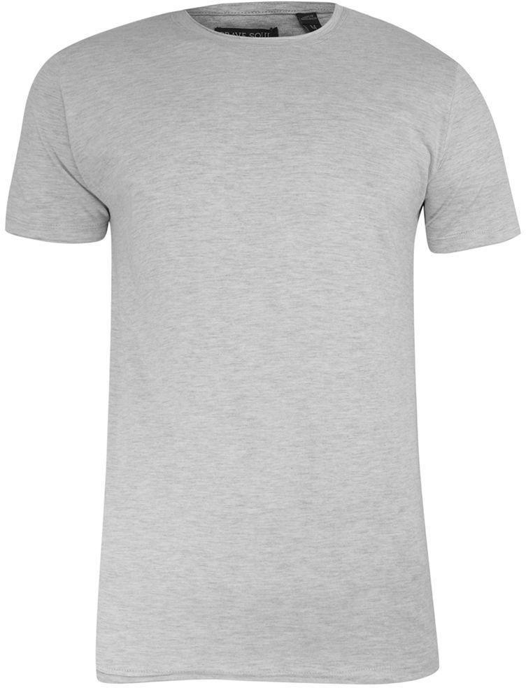 T-Shirt (Koszulka) Szary Bez Nadruku, Okrągły Dekolt, Postrzępione Brzegi -BRAVE SOUL- Męski TSBRSSS21FRESHERecruemarl