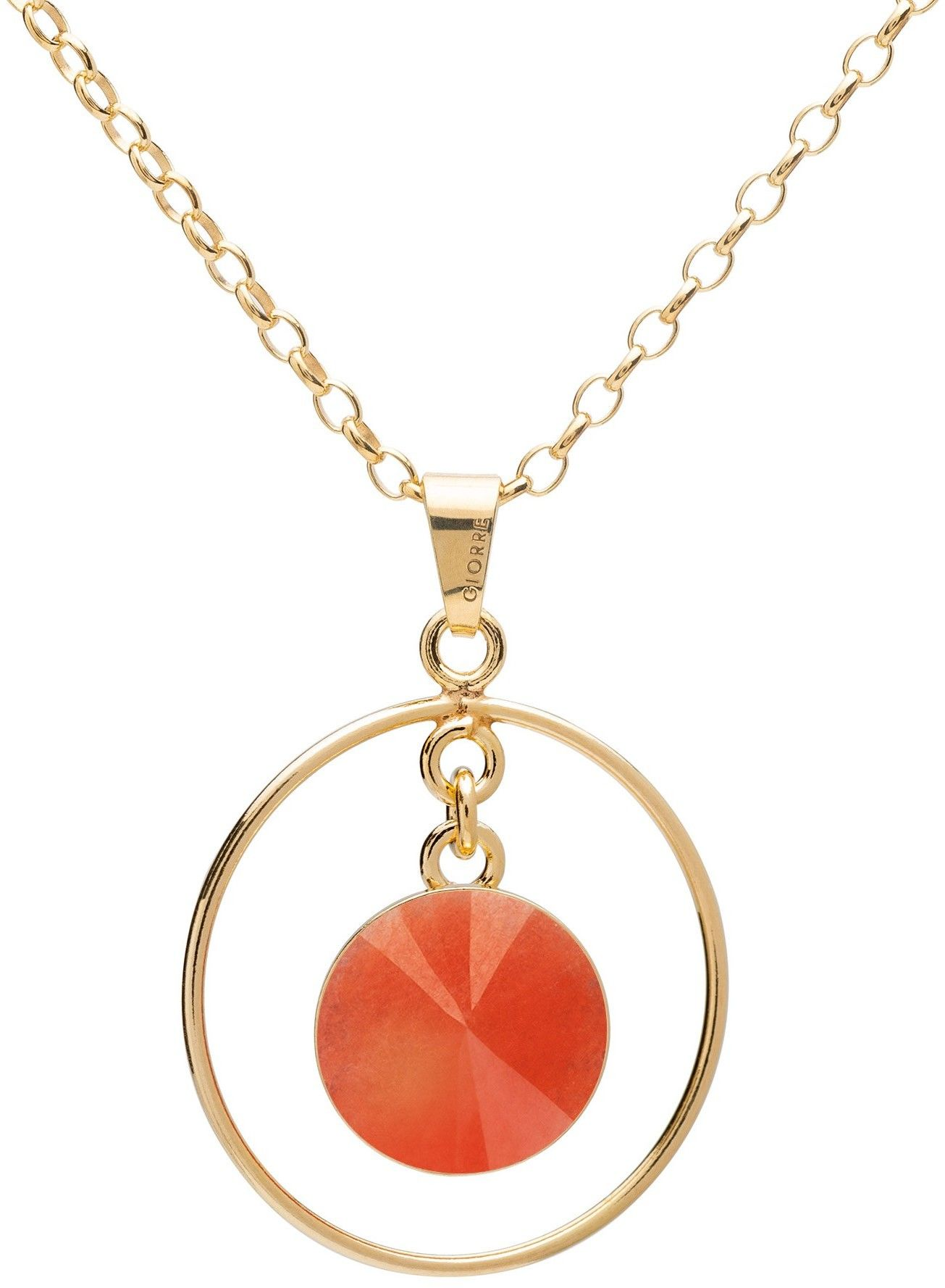 Okrągły naszyjnik z naturalnym kamieniem - jadeit, srebro 925 : Długość (cm) - 45 + 5, Kamienie naturalne - kolor - jadeit pomarańczowy, Srebro - kolor pokrycia - Pokrycie żółtym 18K złotem