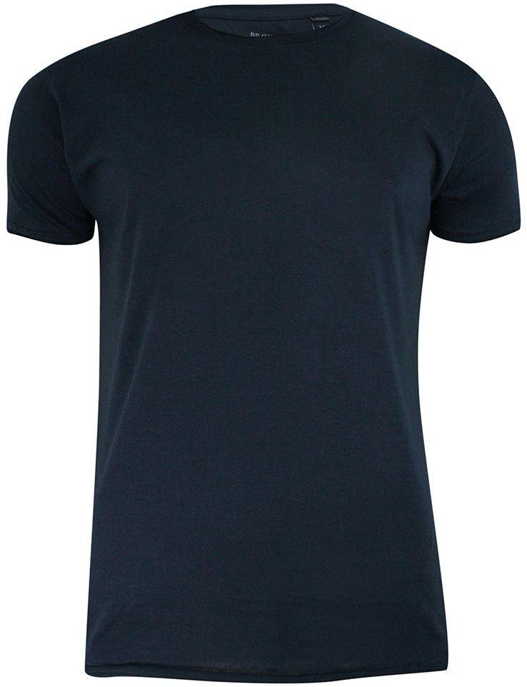 T-Shirt (Koszulka) Granatowy Bez Nadruku, Okrągły Dekolt, Postrzępione Brzegi -BRAVE SOUL- Męski TSBRSSS21FRESHERdknavy