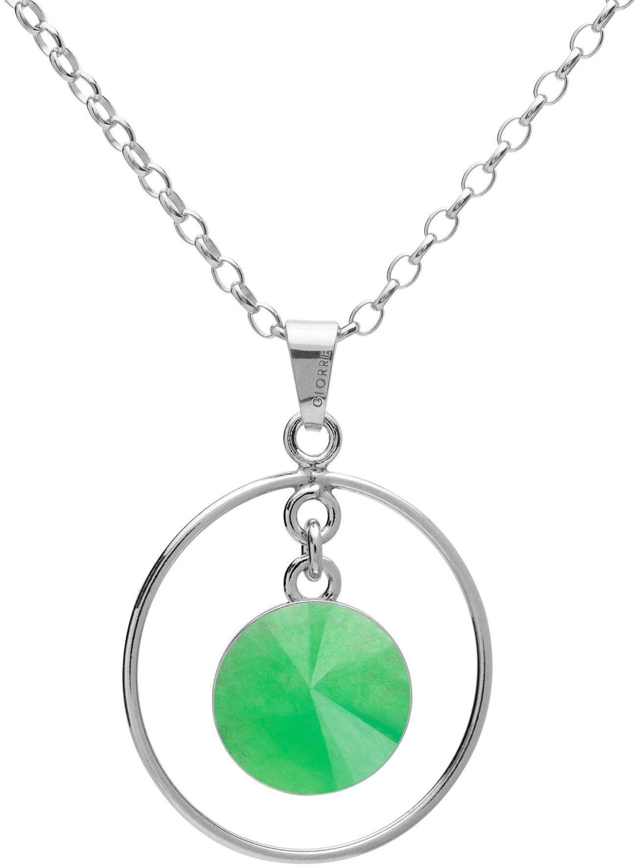 Okrągły naszyjnik z naturalnym kamieniem - chryzopraz, srebro 925 : Długość (cm) - 45 + 5, Kamienie naturalne - kolor - chryzopraz zielony ciemny, Srebro - kolor pokrycia - Pokrycie platyną