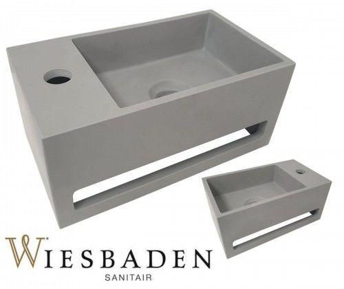 Umywalka mała prostokątna 35x20x16 cm JULIA, wygląd betonu