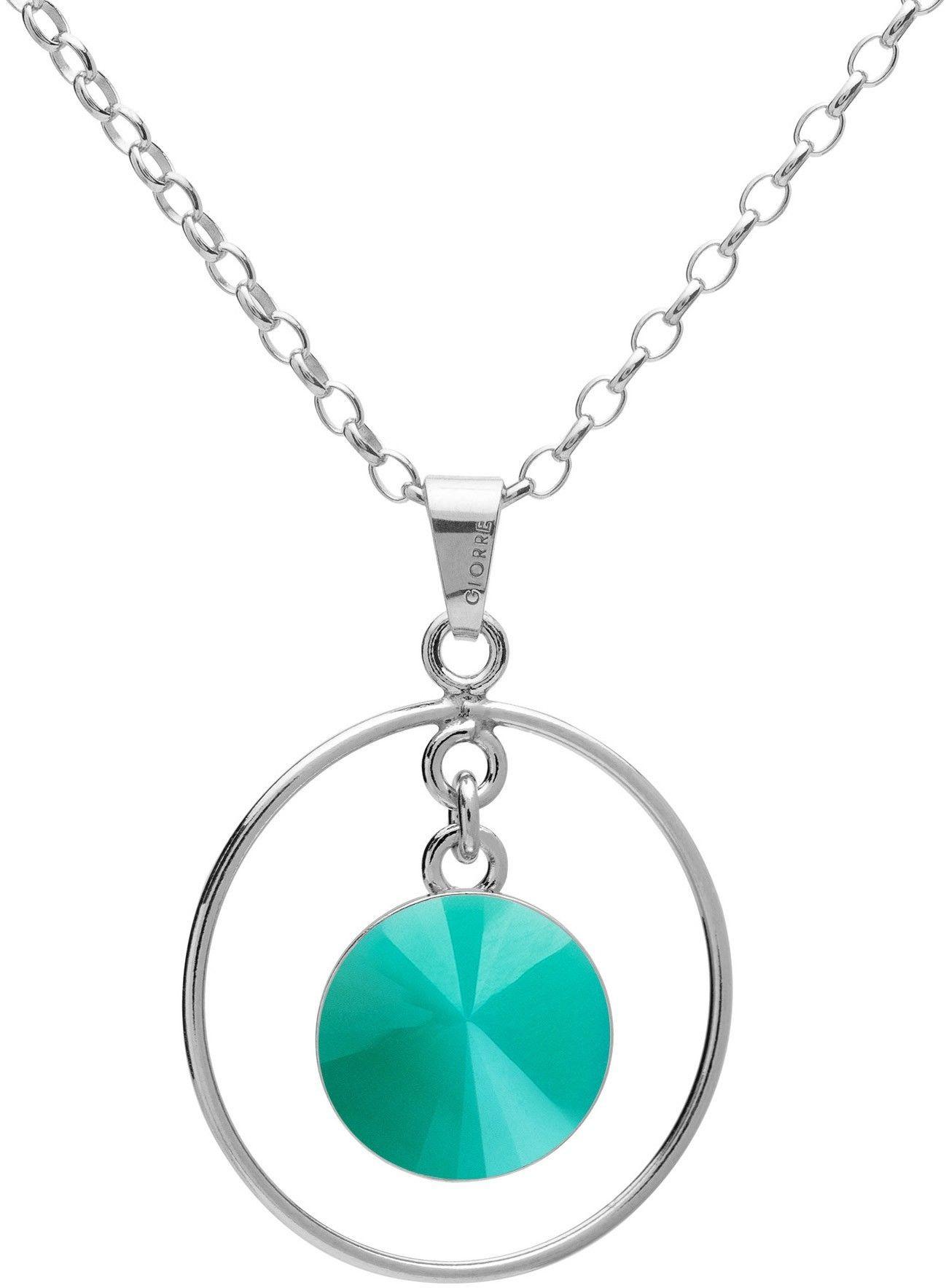 Okrągły naszyjnik z naturalnym kamieniem - jadeit, srebro 925 : Długość (cm) - 45 + 5, Kamienie naturalne - kolor - jadeit zielony jasny, Srebro - kolor pokrycia - Pokrycie platyną