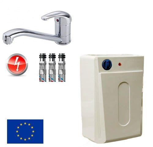Elektryczny pojemnościowy ogrzewacz wody podumywalkowy 10 L FOX + bateria zlewozmywakowa