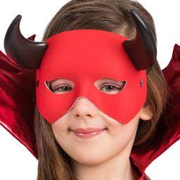 Carnival Toys 1707 maska diabeł, półmaska z rogami, czerwona, jeden rozmiar
