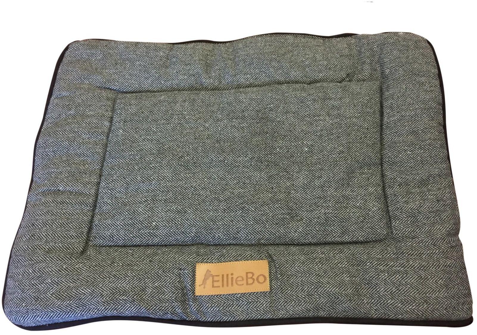 Ellie-Bo Dwustronna tweed i czarna mata ze sztucznego futra łóżko dla małych 61 cm klatek i skrzynek dla psa
