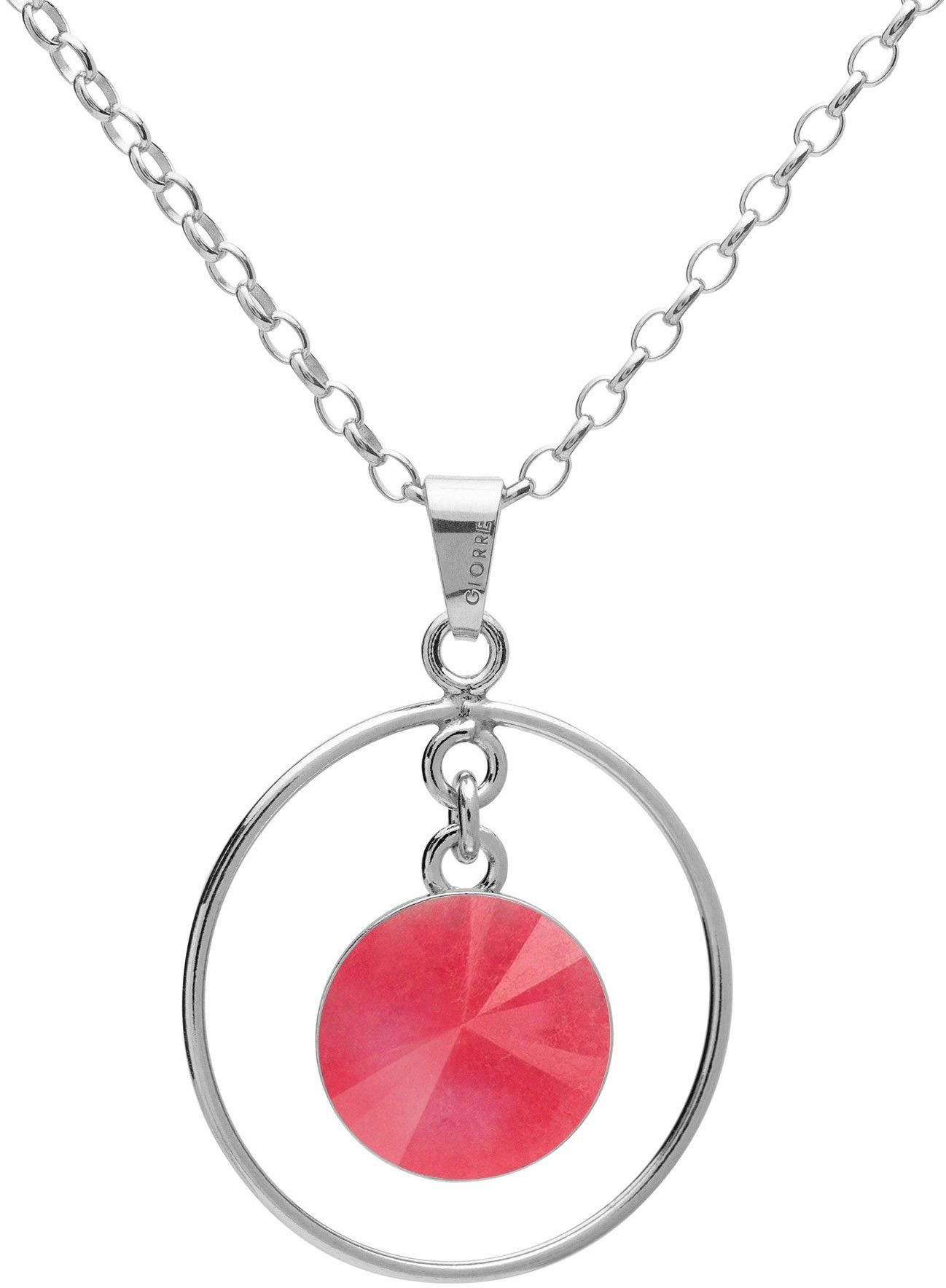 Okrągły naszyjnik z naturalnym kamieniem - jadeit, srebro 925 : Długość (cm) - 45 + 5, Kamienie naturalne - kolor - jadeit różowy, Srebro - kolor pokrycia - Pokrycie platyną