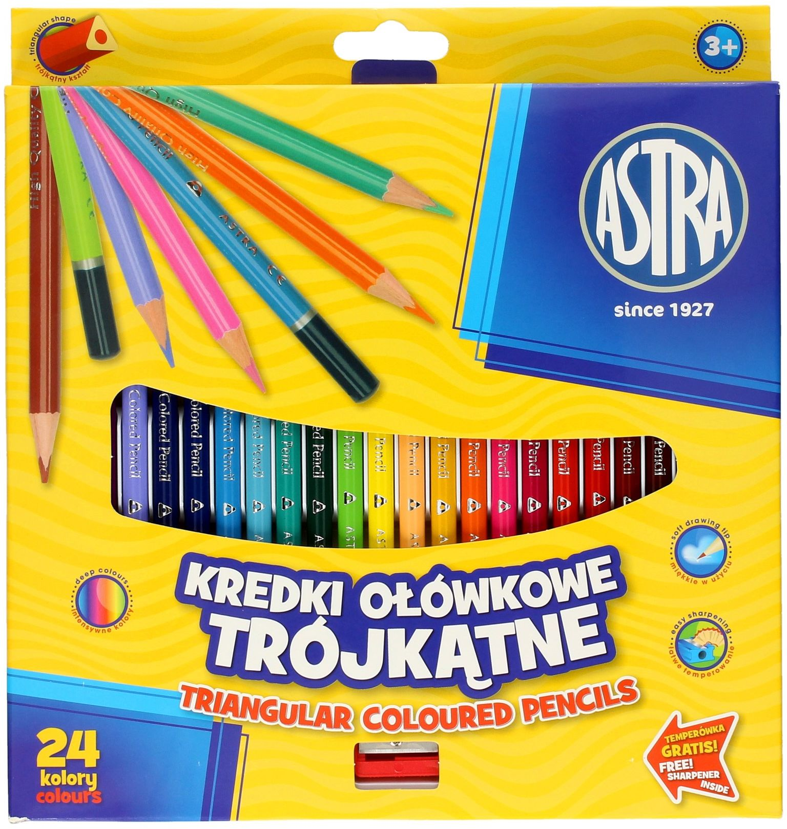 Kredki ołówkowe 24kol trójkątna Astra