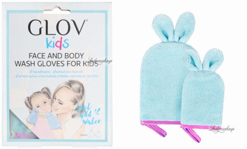 GLOV - Kids - FACE AND BODY WASH GLOVES FOR KIDS - Zestaw 2 rękawic do pielęgnacji dla matki i dziecka - Party Pink