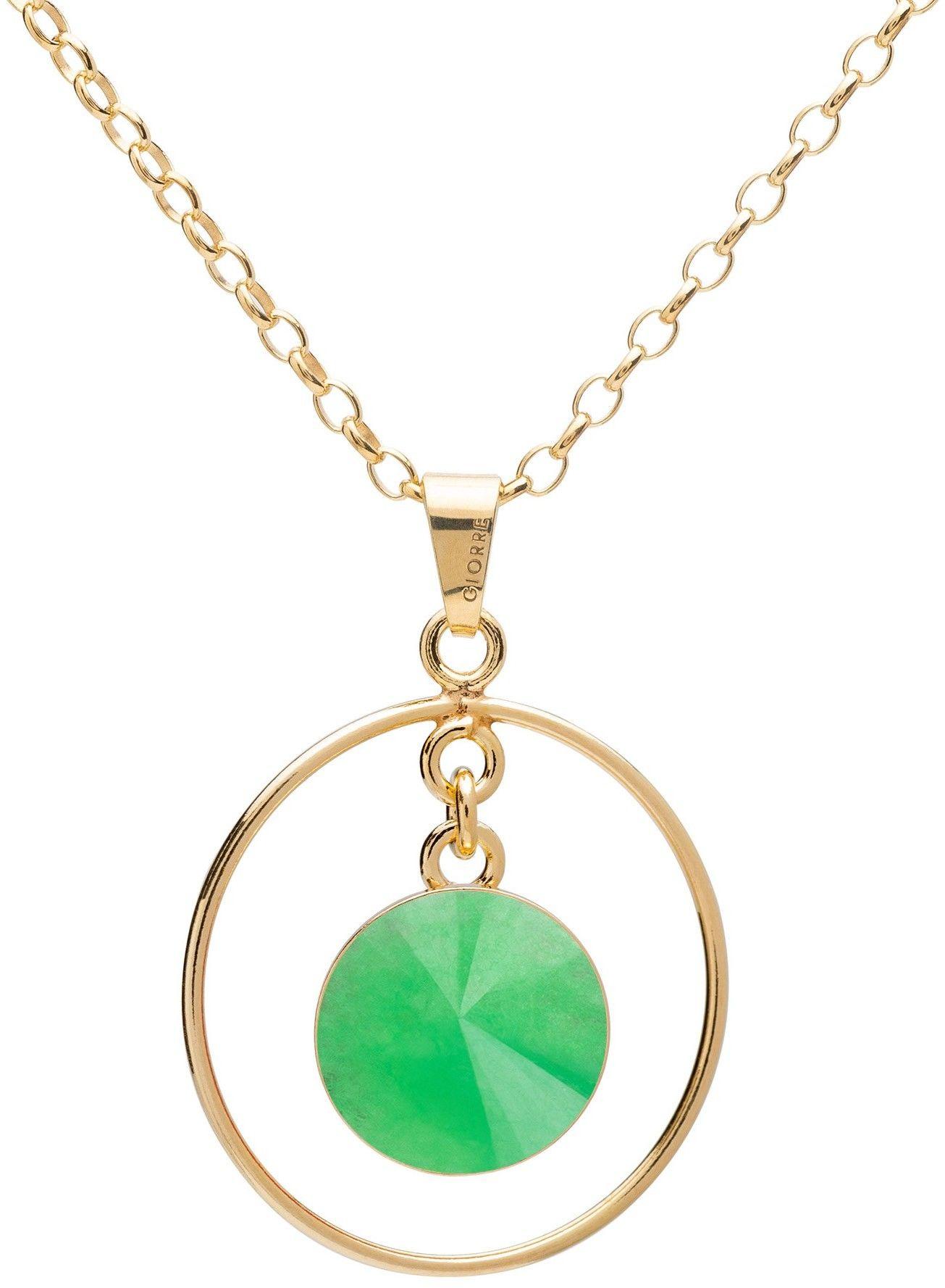 Okrągły naszyjnik z naturalnym kamieniem - chryzopraz, srebro 925 : Długość (cm) - 45 + 5, Kamienie naturalne - kolor - chryzopraz zielony ciemny, Srebro - kolor pokrycia - Pokrycie żółtym 18K złotem