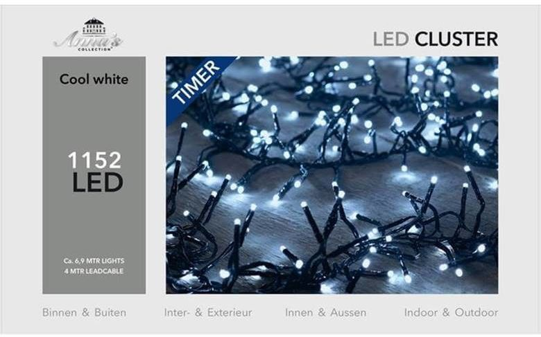Lampki choinkowe 1152 LED Najgęstsze Zimne Białe