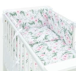 MAMO-TATO Ochraniacz dla niemowląt do łóżeczka 70x140 - Różany ogród