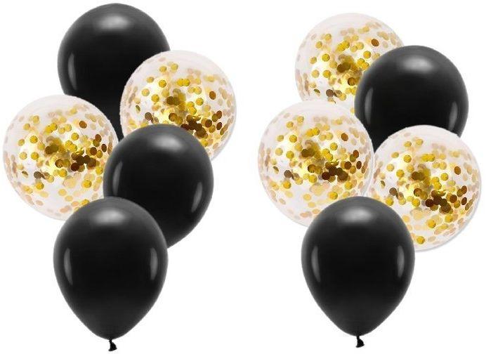 Zestaw balonów czarne i ze złotym konfetti 10 sztuk ZB31