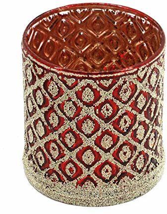 EUROCINSA Ref. 29118 świecznik ze szkła, szczegóły pereł w kolorze złotym, Ø 8 x 9 cm. 1 sztuka, czerwony/złoty, rozmiar uniwersalny