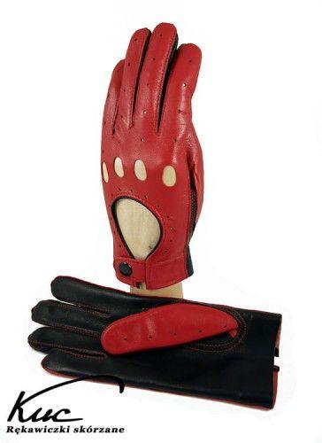 Rękawiczki samochodowe - całuski - czerwono-czarne