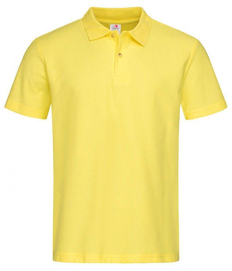 Żółta Bawełniana Koszulka POLO -STEDMAN- Męska, Krótki Rękaw, z Kołnierzykiem, Kanarkowa TSJNPLPOLOST3000yellow