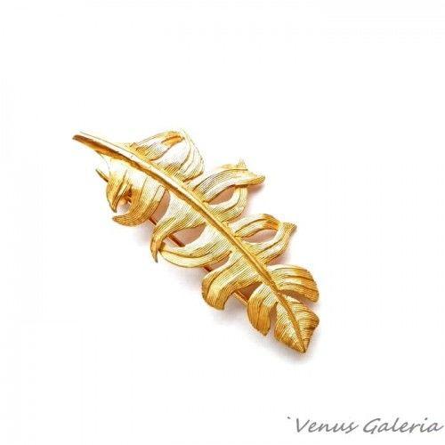 Broszka srebrna - Złote piórko II małe