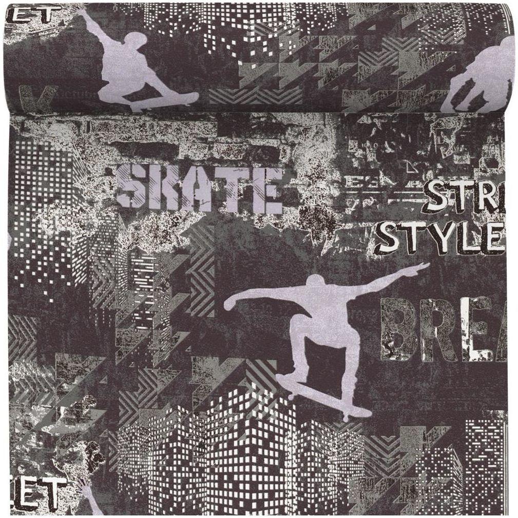Tapeta do pokoju młodzieżowego Skater czarna winylowa na flizelinie