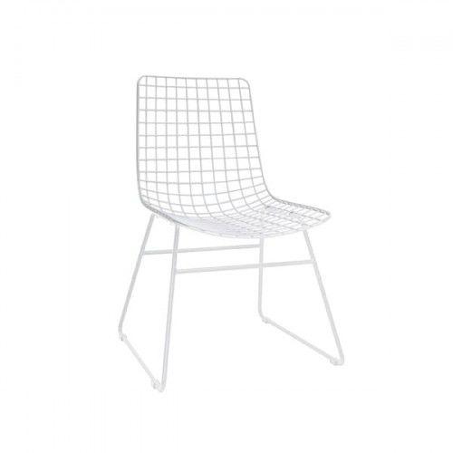 Krzesło metalowe Wire białe HK Living