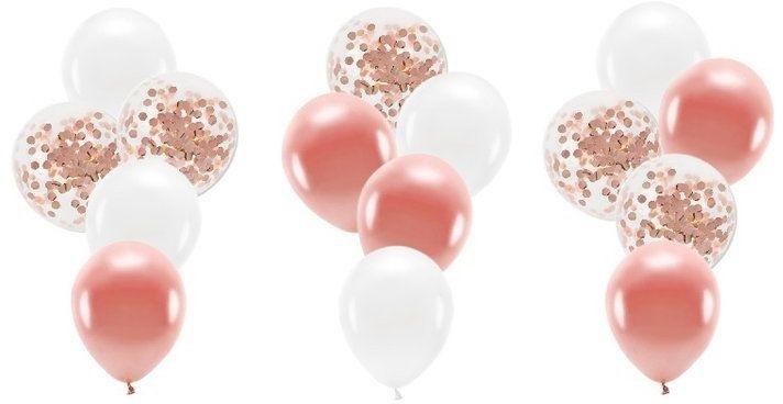 Zestaw balonów w kolorystyce różowego złota 15 sztuk ZB35