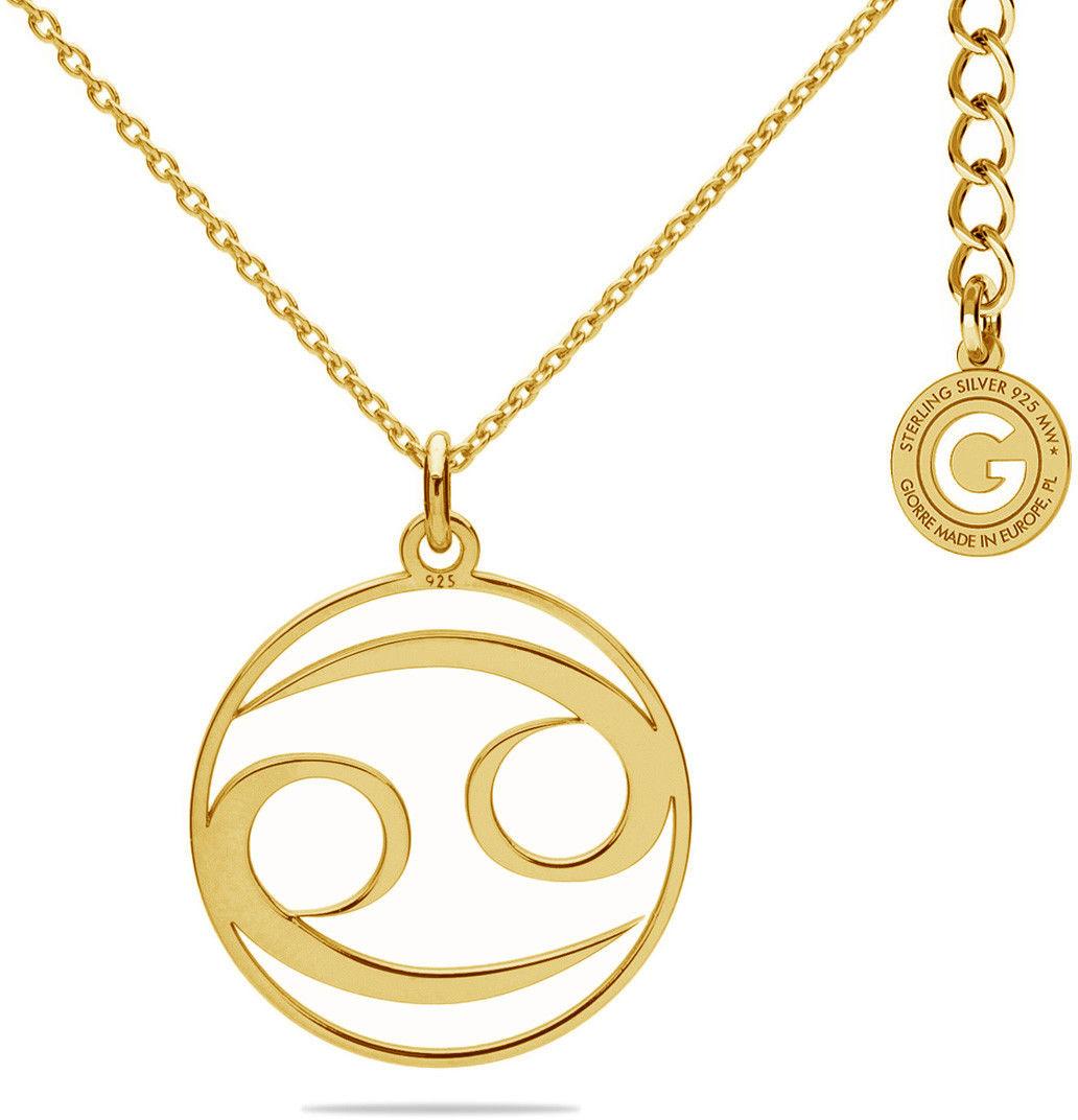 Srebrny naszyjnik znak zodiaku rak, srebro 925 : Kolor pokrycia srebra - Pokrycie żółtym 18K złotem