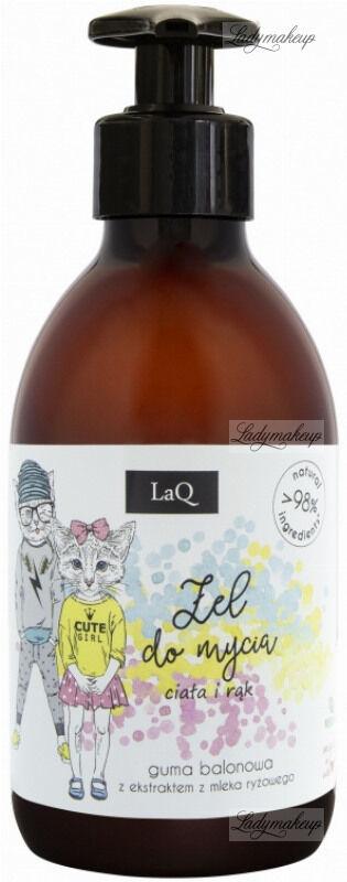LaQ - Żel do mycia ciała i rąk - Guma balonowa z ekstraktem z mleka ryżowego - 300 ml