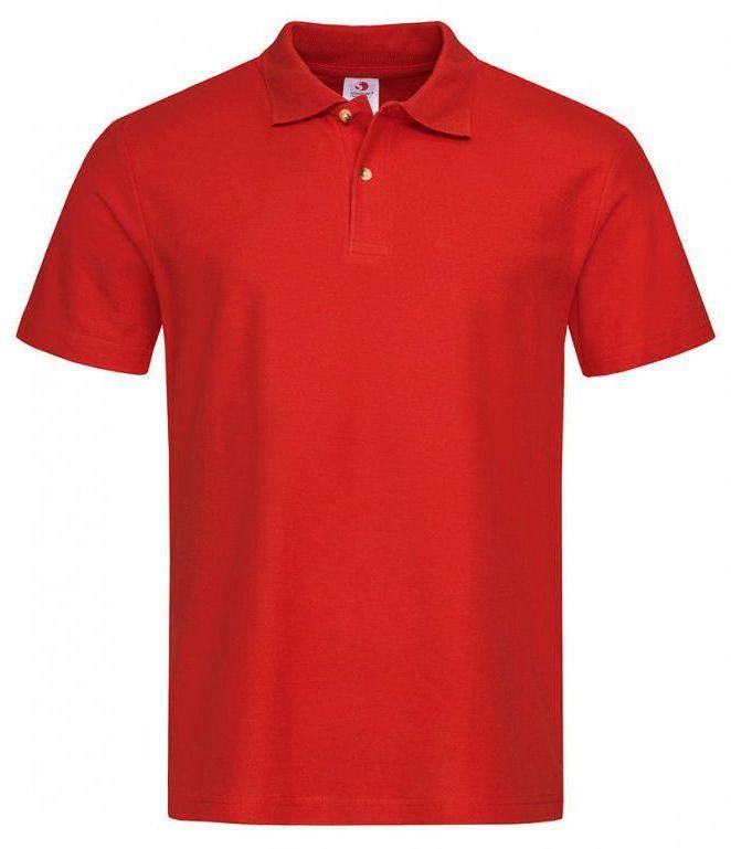 Czerwona Bawełniana Koszulka POLO -STEDMAN- Męska, Krótki Rękaw, z Kołnierzykiem, Casualowa TSJNPLPOLOST3000scarletred