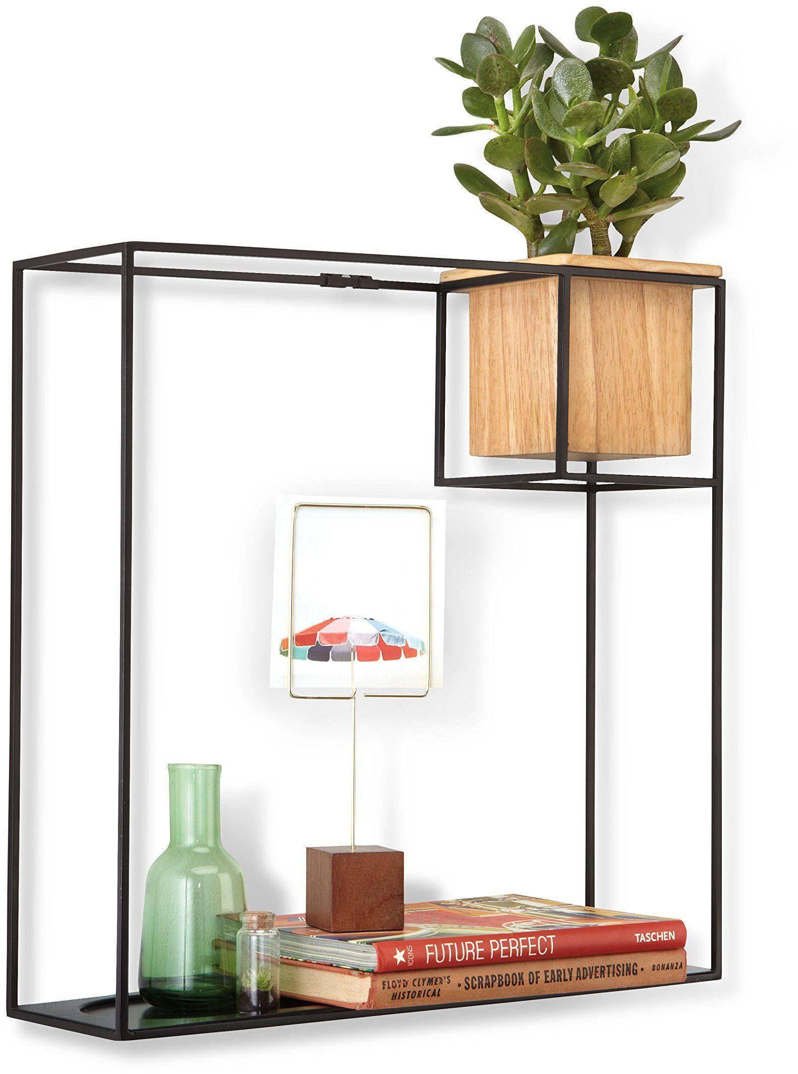 Umbra Cubist pływająca półka z wbudowaną doniczką na sukulent  nowoczesna dekoracja ścienna i geometryczna półka na książki, świece, notatki, zdjęcia, rośliny domowe i wiele więcej! duża, czarna
