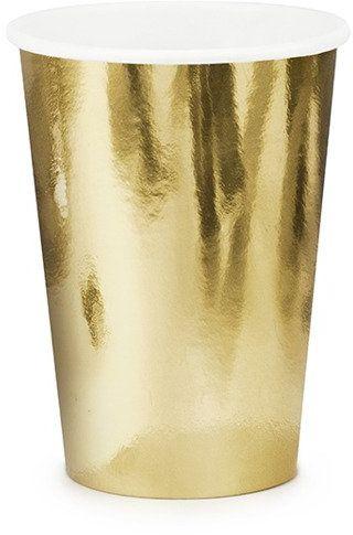 Kubeczki papierowe złote metalizowane 220ml 6 sztuk KPP57-019ME