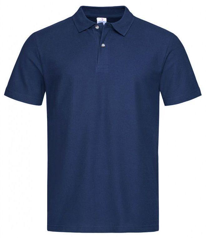 Granatowa Bawełniana Koszulka POLO -STEDMAN- Męska, Krótki Rękaw, z Kołnierzykiem, Casualowa TSJNPLPOLOST3000navyblue
