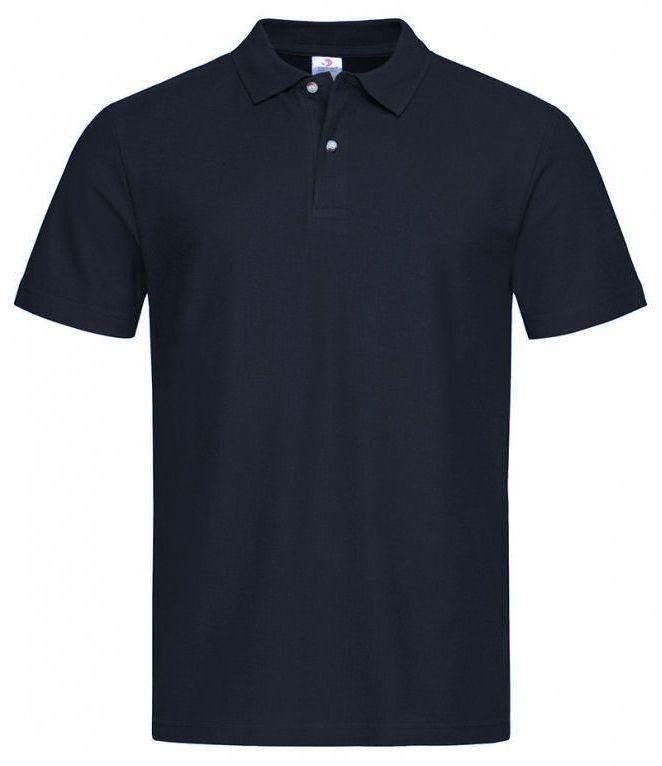 Ciemna Granatowa Bawełniana Koszulka POLO -STEDMAN- Męska, Krótki Rękaw, z Kołnierzykiem, Casualowa TSJNPLPOLOST3000midnightblue