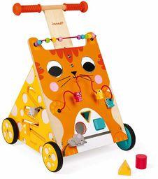 Janod Drewniany aktywność chodzik kot  zabawka z hamulcem i uchwytem z regulacją wysokości  pierwsze kroki, nauka chodzenia  od 12 miesięcy, J08005