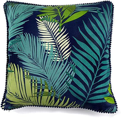 Fusion - tropikalna - poduszka wypełniona 100% bawełną - 43 x 43 cm (17 x 17 cali) w kolorze wielokolorowym