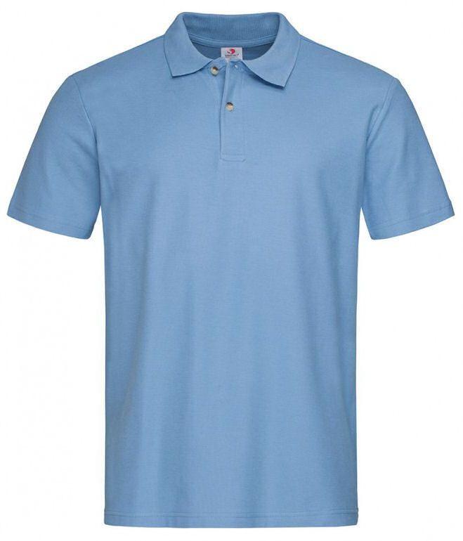 Niebieska, Błękitna Bawełniana Koszulka POLO -STEDMAN- Męska, Krótki Rękaw, z Kołnierzykiem TSJNPLPOLOST3000lightblue
