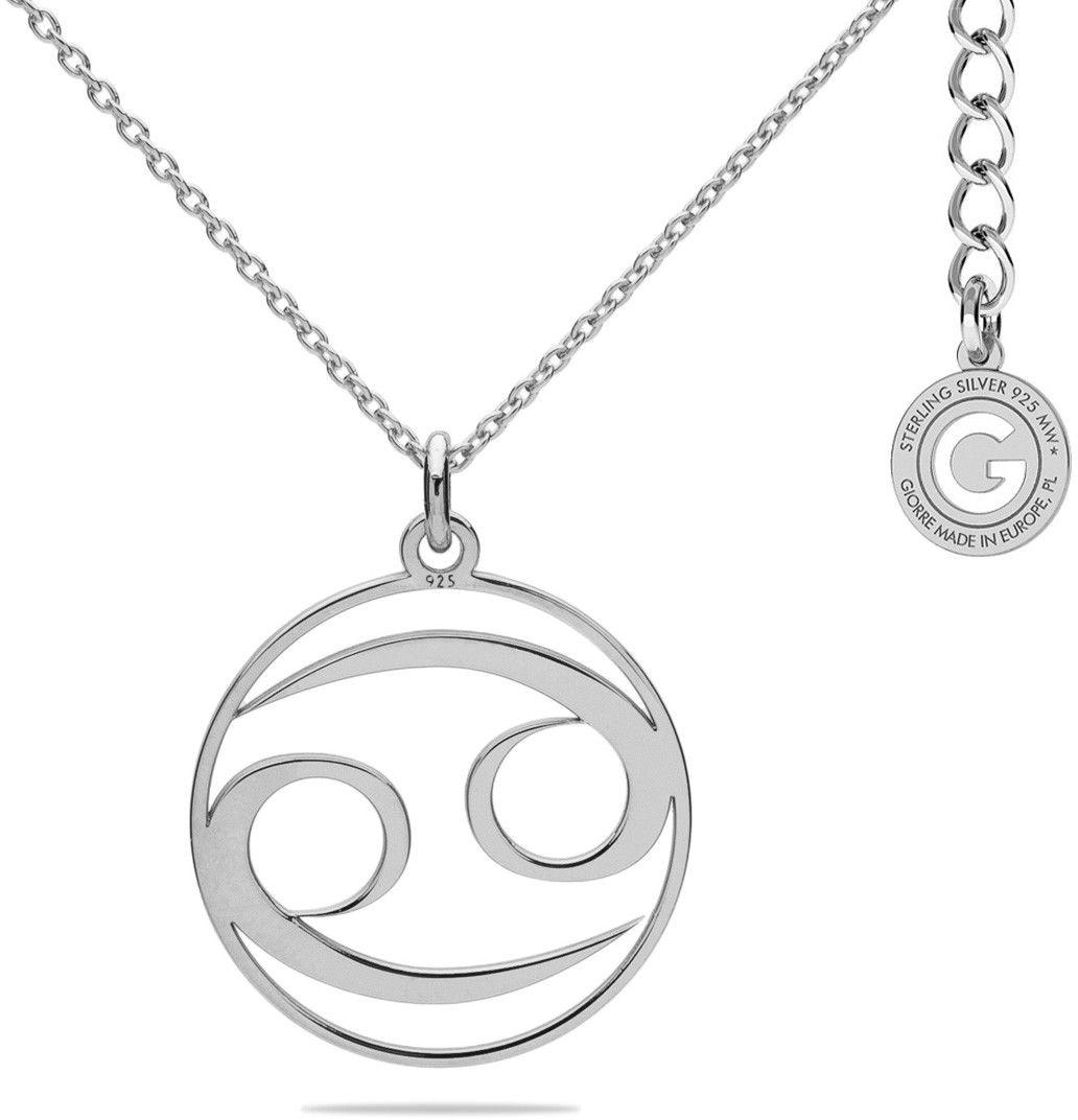 Srebrny naszyjnik znak zodiaku rak, srebro 925 : Kolor pokrycia srebra - Pokrycie platyną