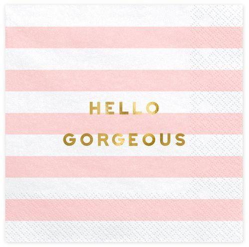 Serwetki Hello Gorgeous różowe paski 33cm 20 sztuk SP33-68-081
