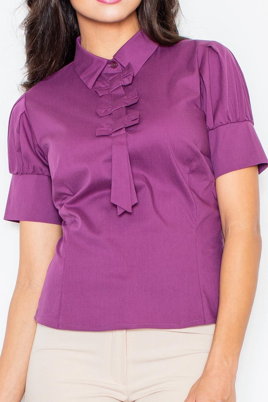 bakłażanowa elegancka bluzka z kokardkami