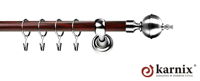Karnisz Metalowy Prestige pojedynczy 19mm Roxy INOX - mahoń