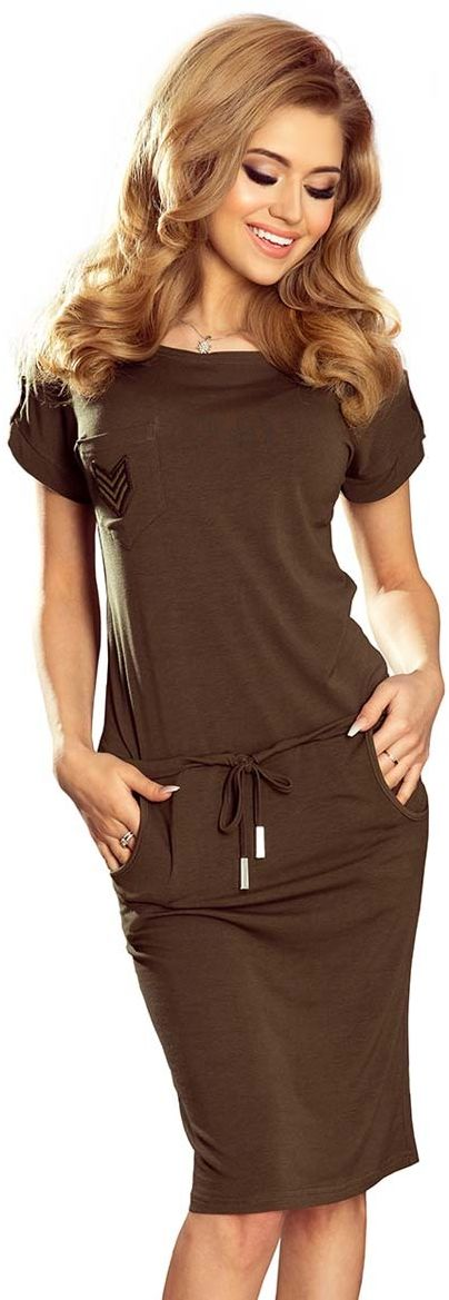 Khaki sukienka w sportowym stylu z kieszeniami